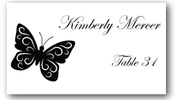 Place Cards - Black and White Butterfly - CorkeyCreations.com