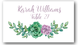 Place Cards - Green and Purple Succulent - CorkeyCreations.com