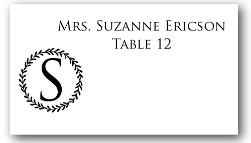 Place Cards - Single Initial Wreath - CorkeyCreations.com