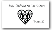 Place Cards - Swirl Heart - CorkeyCreations.com