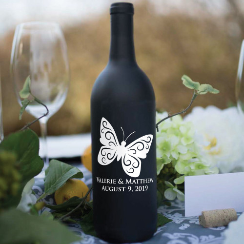 Butterfly Name and Date Wine Bottle Vinyl Decals - CorkeyCreations.com
