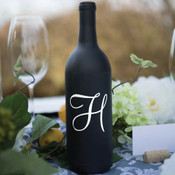 Single Initial Wine Bottle Vinyl Decal - CorkeyCreations.com