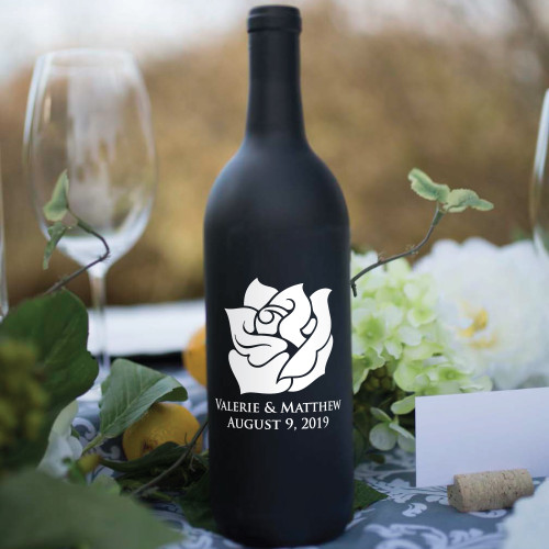 Rose Name and Date Wine Bottle Vinyl Decals - CorkeyCreations.com