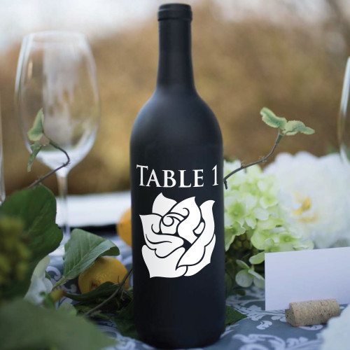 Rose Wine Bottle Table Number Vinyl Decals - CorkeyCreations.com