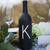 Single Intial Wine Bottle Vinyl Decal - CorkeyCreations.com