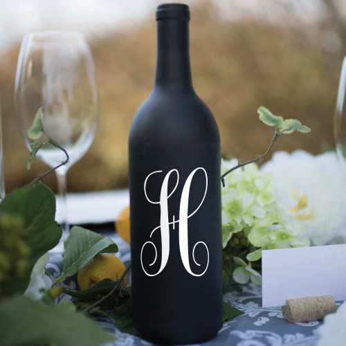 Fancy Single Initial Wine Bottle Vinyl Decal - CorkeyCreations.com