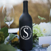 Wreath Single Initial Wine Bottle Vinyl Decal - CorkeyCreations.com