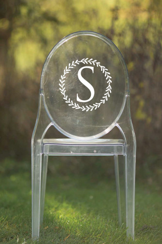 Single Initial Vinyl Chair Back Decor - CorkeyCreations.com