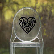 Heart Vinyl Chair Back Decor - CorkeyCreations.com