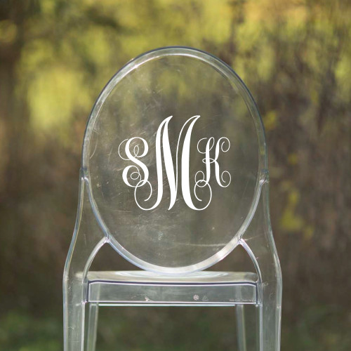 Monogram Vinyl Chair Back Decor - CorkeyCreations.com
