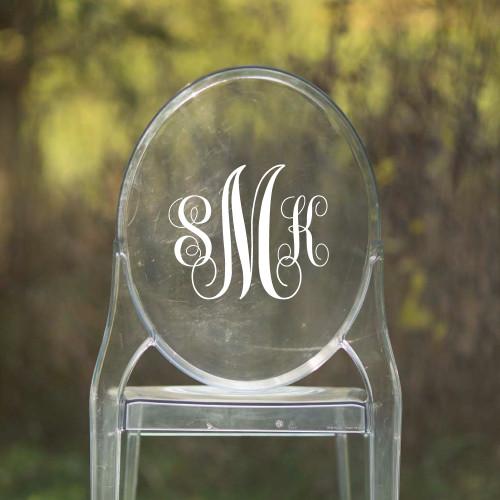 Monogram Vinyl Chair Back Decor - CorkeyCreations.com