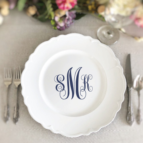 Monogram Charger Plate Vinyl Decal - CorkeyCreations.com