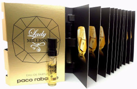 Lady Million Paco Rabanne EDP Spray Sample Vials PACK of 12 pcs.New Sealed Bag.