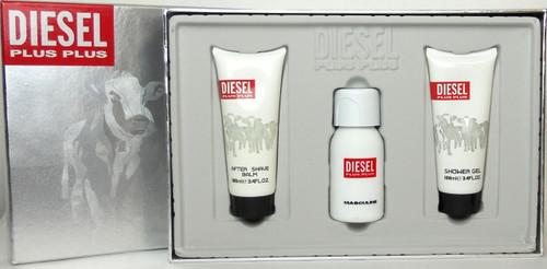 Diesel Plus Plus Masculine 2.5 oz./75 ml.EDT Spray + 3.4 oz./100 ml.Shower Gel+ 3.4 oz./100 ml.After Shave Balm. New set for Men.