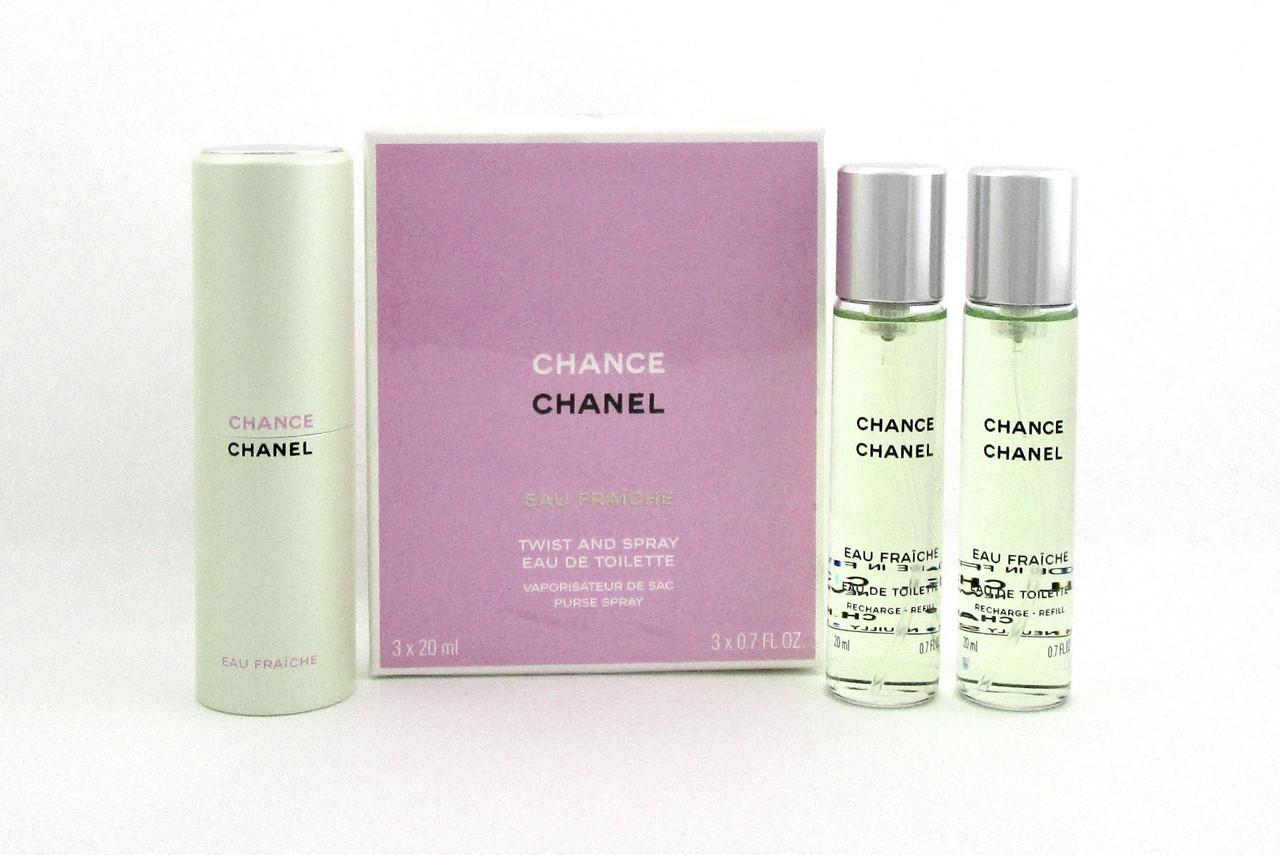 Chanel Chance EAU FRAICHE Twist and Spray EDT Purse Spray 3 x 20 ml ... b8bafd6b9f