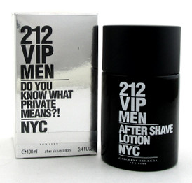 212 VIP MEN by Carolina Herrera 3.4 oz. After Shave Lotion Splash. NEW Damag.Box