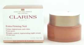 Clarins Extra Firming Nuit Wrinkle Control, Regenerating Night Cream All Skin Types 50 ml./ 1.7 oz.
