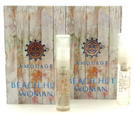 Amouage BEACH HUT Woman EDP Vial Spray 2ml New With Card. LOT of 2