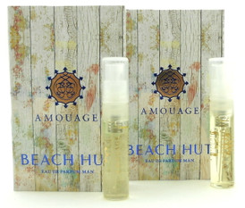 Amouage BEACH HUT MAN EDP Vial Spray 2ml New With Card. LOT of 2