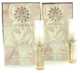 Amouage LOVE TUBEROSE Woman EDP Vial Spray 2ml New With Card. LOT of 2