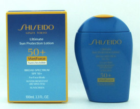 Shiseido Ultimate Sun Protection Lotion SPF 50+ Wet Force Turns Invisible Broad Spectrum SPF 50+ For Face/Body 100 ml./ 3.3 oz. NIB