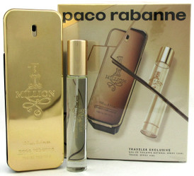 1 Million Cologne by Paco Rabanne: 3.4 oz.+20 ml. EDT Spray. New Travel Set.