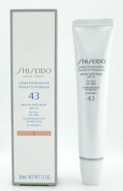 Shiseido Urban Environment Tinted UV Protector 43 Broad Spectrum SPF43 For Face Oil Free Water Resistant (40 minutes) Sunscreen # 1 30 ml./1.1 oz. NIB