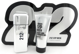 212 VIP Men by Carolina Herrera 3.4 oz.EDT+ 3.4 oz.S/Gel Brand New Set Metal Box