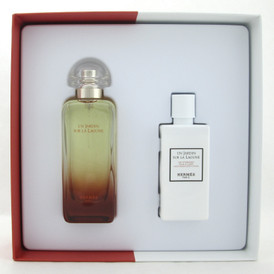 Un Jardin Sur La Lagune Perfume by Hermes Set EDT Spray 3.3 oz. + Body Lotion