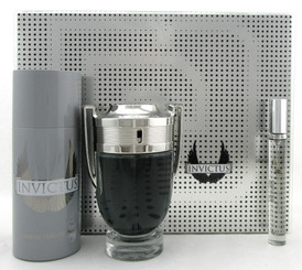 Invictus by Paco Rabanne SET: 3.4 oz & 10 ml EDT Spray + 5.1 oz Deo Spray. New