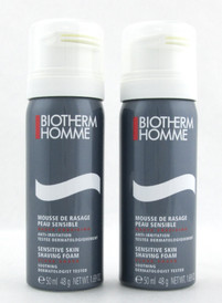 Biotherm Homme Sensitive Skin Shaving Foam 50 ml./ 1.69 oz. Lot of 2 NO BOX