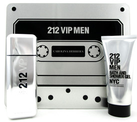212 VIP MEN by Carolina Herrera 3.4 oz.EDT Spray + 3.4 oz. Shower Gel. New Set