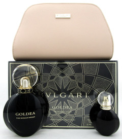 Bvlgari Goldea The ROMAN NIGHT 2.5 oz & 15 ml EDP Sensuelle Spray + Pouch. SET