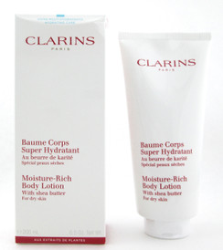 Clarins Moisture Rich Body Lotion with Shea Butter for Dry Skin 6.5 oz. Damaged Box