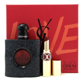 Black Opium by Yves Saint Laurent 1.6 oz EDP Spray + Lipstick. New Set for Women