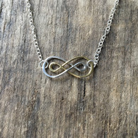 Gold & Silver Double Infinity Necklace, sterling silver