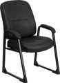 Big & Tall 400 lb. Capacity Black Leather Executive Side Chair with Sled Base , #FF-0308-14