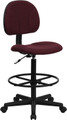 Burgundy Fabric Ergonomic Drafting Stool (Adjustable Range 26''-30.5''H or 22.5''-27''H) , #FF-0508-14