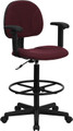 Burgundy Fabric Ergonomic Drafting Stool with Arms (Adjustable Range 26''-30.5''H or 22.5''-27''H) , #FF-0512-14