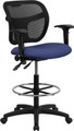 Mid-Back Mesh Drafting Stool with Navy Blue Fabric Seat and Arms , #FF-0532-14