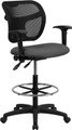 Mid-Back Mesh Drafting Stool with Gray Fabric Seat and Arms , #FF-0534-14