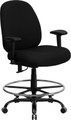 Big & Tall 400 lb. Capacity Big and Tall Black Fabric Drafting Stool with Arms and Extra WIDE Seat , #FF-0314-14