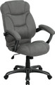 High Back Gray Microfiber Upholstered Contemporary Office Chair , #FF-0277-14