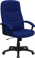 High Back Navy Blue Fabric Executive Swivel Office Chair , #FF-0284-14