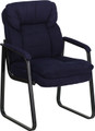 Navy Microfiber Executive Side Chair with Sled Base , #FF-0462-14