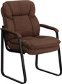 Brown Microfiber Executive Side Chair with Sled Base , #FF-0463-14