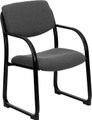 Gray Fabric Executive Side Chair with Sled Base , #FF-0466-14