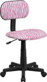 Pink and White Zebra Print Computer Chair , #FF-0383-14