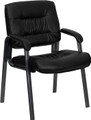 Black Leather Executive Side Chair with Titanium Frame Finish , #FF-0443-14
