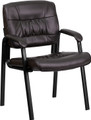 Brown Leather Guest / Reception Chair with Black Frame Finish , #FF-0446-14